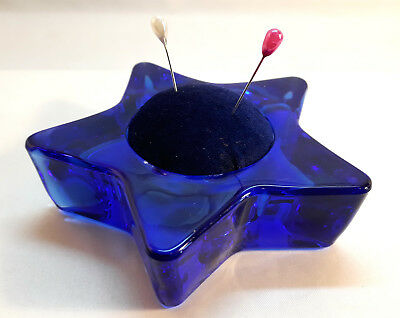 PUNTASPILLI STELLA VETRO BLU cucito Handmade GLASS BLUE STAR Pin Cushion Holder