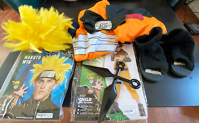 Naruto Halloween Costume Set Wig Shoes Child XL 14-16