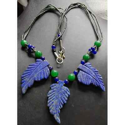 Lapis lazuli stone Leaf beads Wonderful Old Necklace
