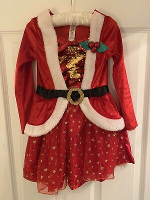 Girls George Christmas  Xmas Dress Age 5-6 Years Good Condition