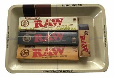 Raw Rolling Papers Variety Bundle Organic/Black/Classic Raw Tray Tips