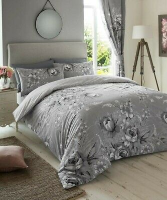 Grey Floral Cotton Blend Quilt Duvet Cover Bedding Set Single Double King Size