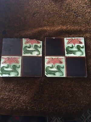 Two Antique Edwardian Art Nouveau Tiles in Tulip Quarter design