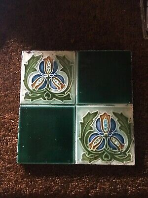 Antique Edwardian Art Nouveau Tile in Green Quarter design