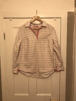 Womens Joules Pink And White Striped Rugby Shirt Size 12 100% Cotton
