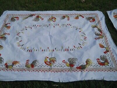 VINTAGE 60s PRINTED COTTON TABLECLOTHS ROOSTERS FLORAL - CUTTERS