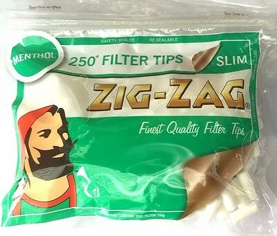 4 x ZIG ZAG Resealable Bags of 6mm SLIM MENTHOL Cigarette Filter Tips 250 in Bag