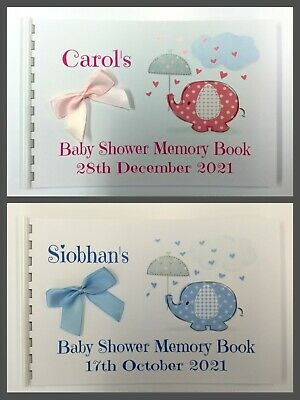 Personalised  Baby Shower Memory  Book / Scrapbook Memory Album Cute Elephant