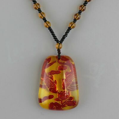 Collect Handwork China Old Amber Carve Fish & Bloomy Lotus Auspicious Necklace
