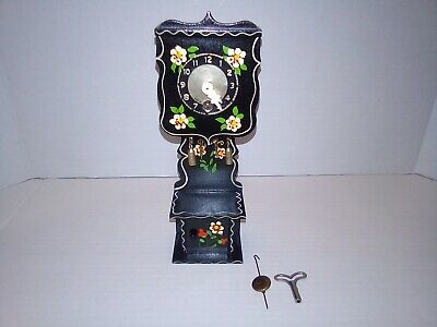 Vintage German Miniature Grandfather Cuckoo Clock Black w/ Box