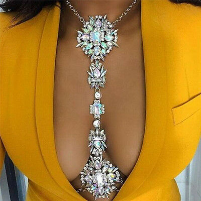 Rhinestone Crystal Gem Pendant Harness Body Chain Necklace Bikini Jewelr FE