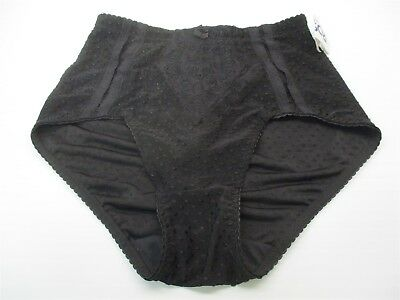 new S601 Women's Size L Everyday Dobby Lace Detail Black Mid Rise Brief Panty
