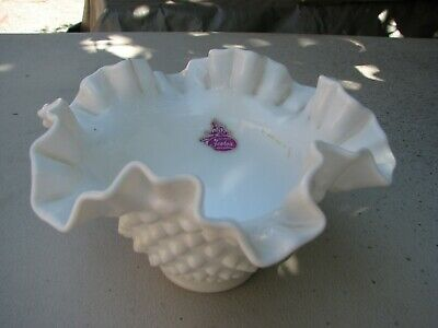 Fenton White Milk Glass Hobnail Ruffled Edge Bowl.