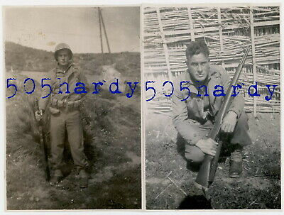 WWII US GI Photo - ID'd 431st AAA AW Bn GI Poses w/ M1 Garand North Africa