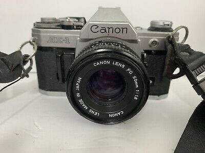 Canon AE-1 50mm Film SLR Camera With 2 Lenses Bag And Accessories