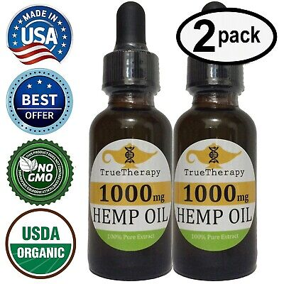 Hemp Oil Extract 1000mg 1oz x2 Pure Organic Drops Tincture Dropper Bottle