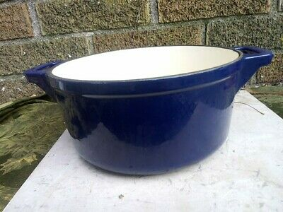 Blue Cast Iron Enamel  3 Qt. Sauce Pot Dutch Oven Double handles