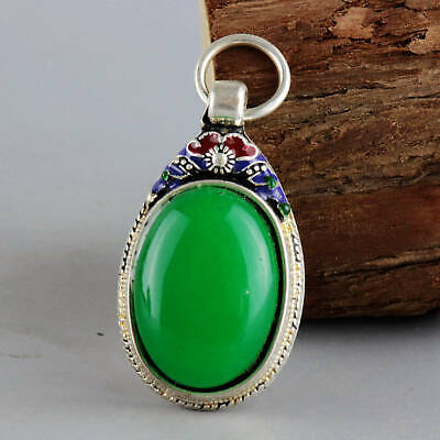 Collect Old Miao Silver & Cloisonne Inlay Green Jade Carve Flower Decor Pendant