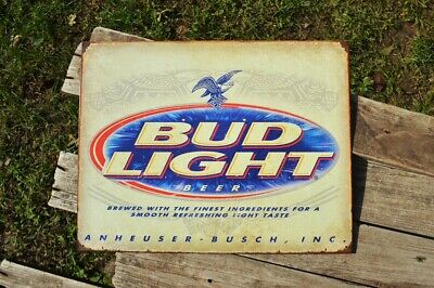 Bud Light Beer Tin Sign - Anheuser Busch - Budweiser - Beechwood Aged - Lager
