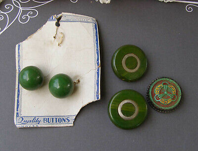 Vintage Art Deco Button lot Bakelite Molded Czech Glass USA