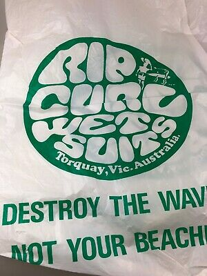 Vintage Rip Curl Torquay Plastic Bag - Destroy The Waves Not Your Beaches Surf