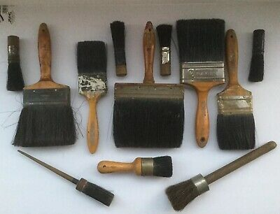 12 Vintage  Antique Paintbrush Old Brushes Wooden Handles Brushes Lot