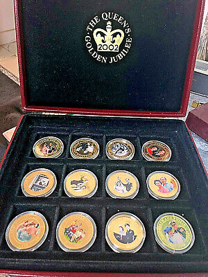 The Queen's Golden Jubilee cased set of 12 Gold Gilded One Dollar Coins