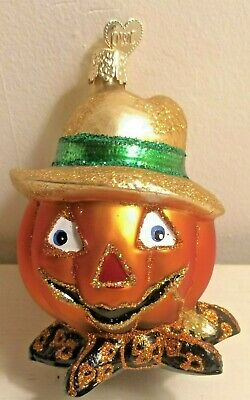 "Rare Old World Christmas Owc Halloween ""Bumpkin"" Pumpkin Head Scarecrow Ornament"