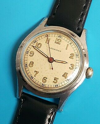 Vintage LEONIDAS WW2 Military 1940s Mens Stainless steel Manual Watch Runs