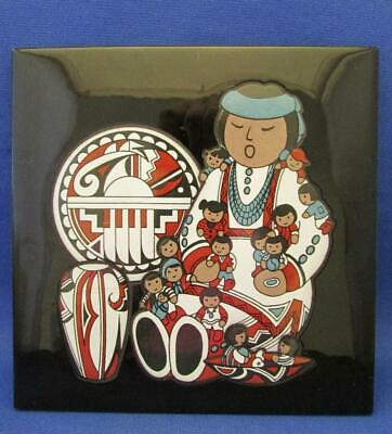 Cleo Teissedre Hand Painted Kiln Fired Ceramic Art Tile w/ NW Native Design