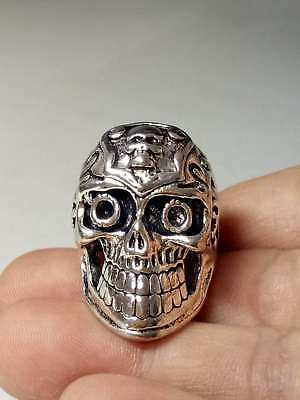 Exquisite Collectable Tibet Silver Hand Carved Skull Ring  a5032