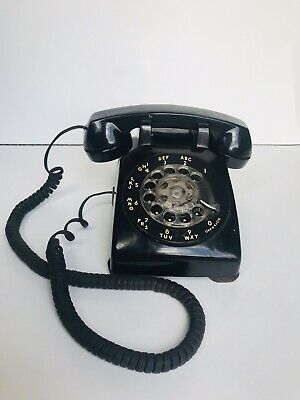 Western Electric Rotary Dial Black Phone Vintage Desk Telephone Antique Works