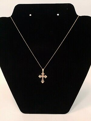 "Nice 14K Yellow Gold Detailed Religious Cross 21"" Necklace & 1"" Pendant"