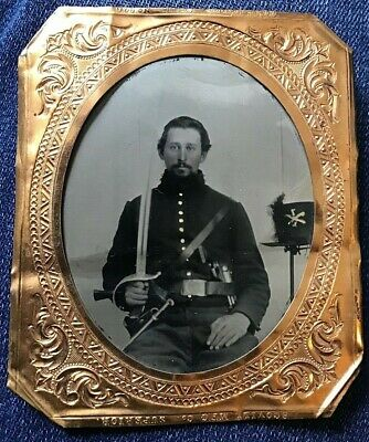 1/6th PLATE TINTYPE CIVIL WAR SOLDIER OFFICER ARMED 7TH MARYLAND INFANTRY ?