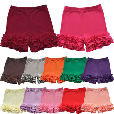 Toddler Kids Girls Icing Ruffle Pants Shorts Baby Bloomers Solid Cotton Bottoms