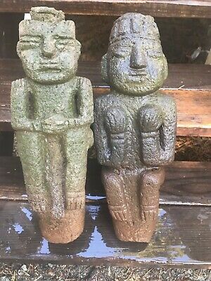 Rare - Two Large Pre-Columbian Statues Mesoamerican Stone Carvings Male & Female