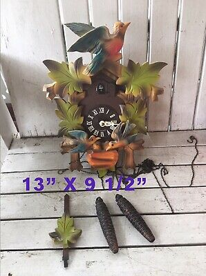 Vintage Black Forest Colorful CUCKOO CLOCK West Germany Complete & Untested