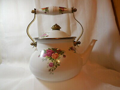 Vintage 1962 Royal Albert Old Country Roses Large Enamel Tea Kettle