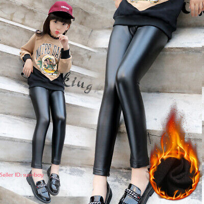 Kids Girls Warm Stretchy Leather Leggings Fleece Lined Pants Thermal Trousers