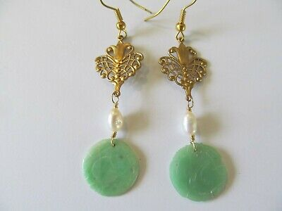 ANTIQUE ART DECO CARVED GREEN JADE/JADEITE w/PEARL GOLD FILLED PIERCED EARRINGS