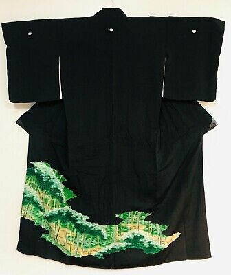 """High Quality """"Tomesode """" Black Kimono Decorated with Bamboos & 5 Mons #753"""