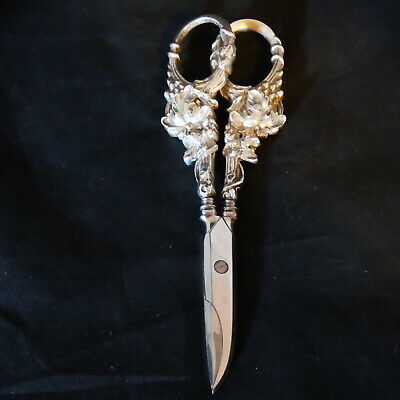 Antique Sterling Silver Grape Vine Shears Scissors Ornate Heavy With Grape Vines