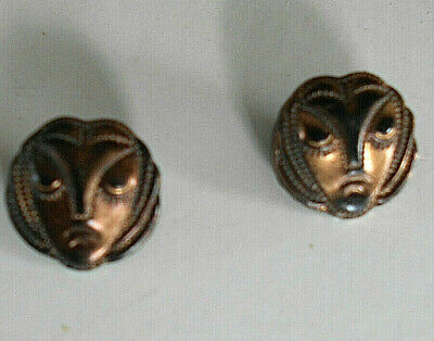 pair of small vintage Art Deco glass buttons woman's stylized face nice detail