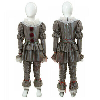 Kids Halloween Stephen King It Pennywise  Clown Suit Cosplay Costume Outfit M