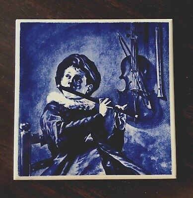 Vintage Hand Painted Ceramic Tile Trivet A Boy Playing Flute Cello Wall Mosaic