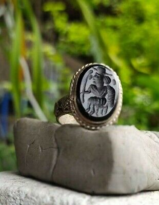 Old Black Agate Alexander King  Afghan  Turkish  Intaglio  Islamic Ring 9 US