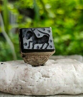 Old Black Agate Stone Afghan  Turkish Agate  Intaglio Horse  Islamic Ring 9 US