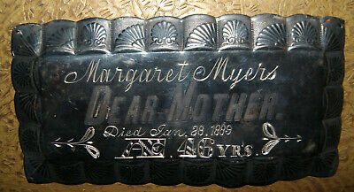 Antique ENGRAVED COFFIN PLATE CASKET PLAQUE Silver Plated, 1889 Myers Halloween