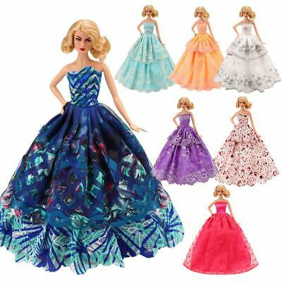5 Pcs Handmade Fashion Wedding Party Gown Dresses Clothes for Barbie Doll Gift