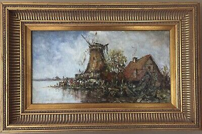 REDUCED! Dutch genre windmill in rural setting, oil painting on canvas